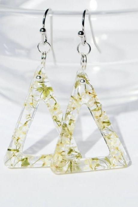 Triangles with flowers of dream, delicate light earrings