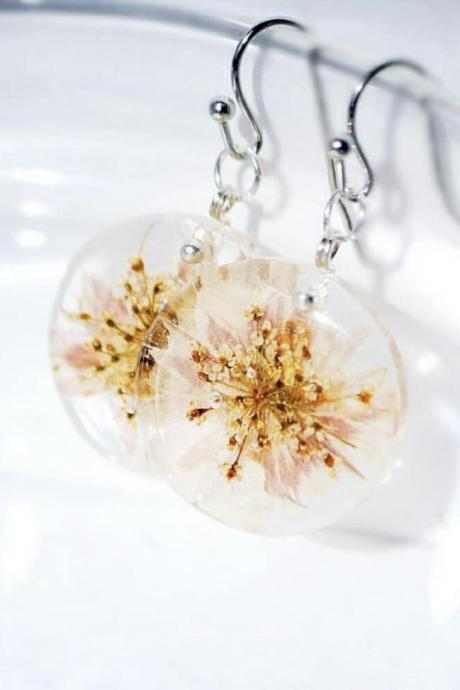 Caramels with carnation petals and anise umbrellas resin dangle earrings