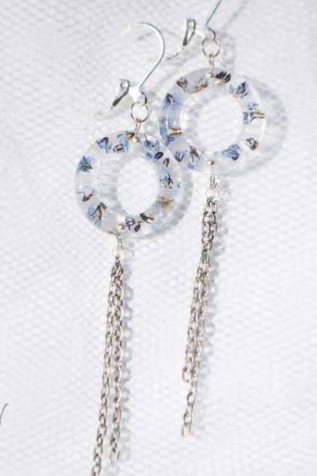 'Bagels' with chains, forget-me-nots resin earrings