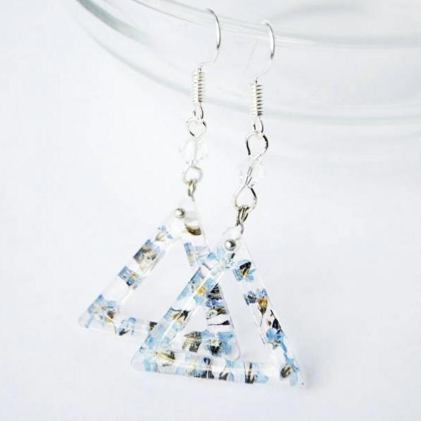Triangles with flat-dried forget-me-nots resin earrings